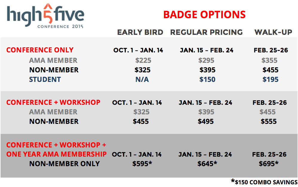 High Five 2015 Badge Options